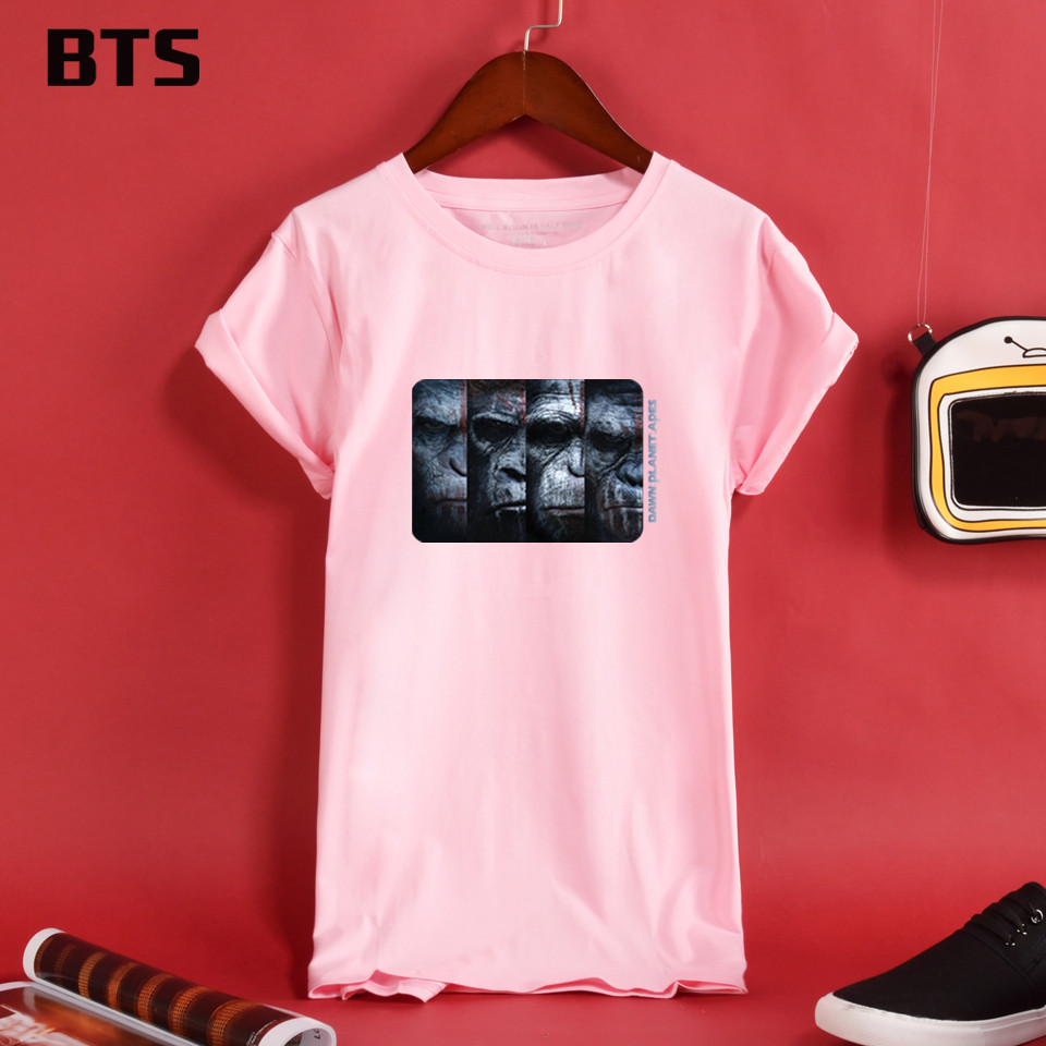 BTS War For The Planet Of The Apes T-shirt Women Casual Female Loose T Shirt Women Short ...