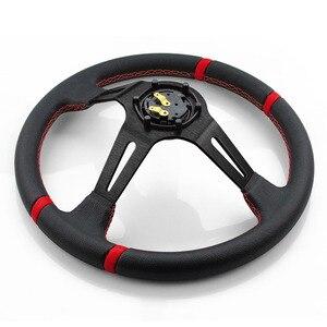 Image 4 - RASTP volant universel en cuir 14 pouces, plat profond, Sport, Style de course, avec Logo RS STW002