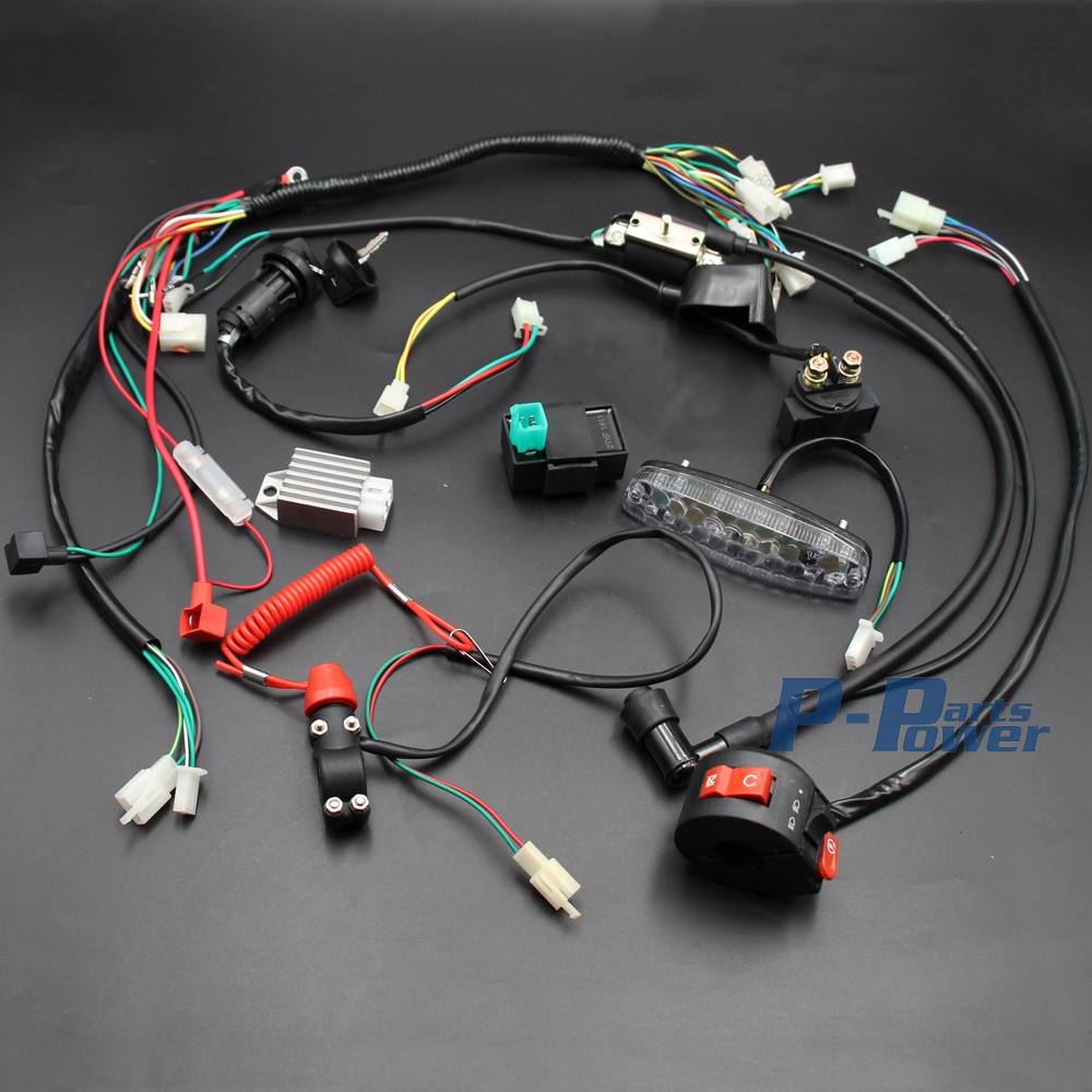 Full Wiring Loom Harness Cdi Coil Regulator Magneto Lights Key Motorcycle Kill Switch Without Electrics Tail Light 50cc 70cc 90cc 110cc 125cc Atv