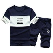 cba9af2e49e757 M-4XL Adolescentes Dos Homens Set Roupas de Verão Moda Casual Masculino  T-Shirt + Shorts Conjuntos de Roupas O-pescoço Treino Co.