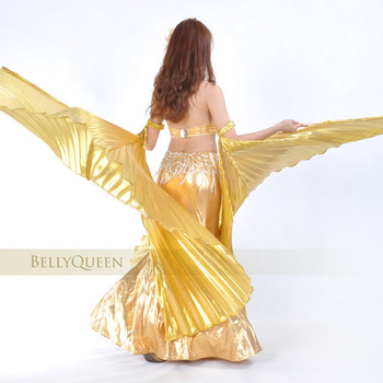 wings 2018 1 Pair Wings Belly Dance Dancing Stage Dancer Costume Opening Isis Wings Bifurcate Isis Wings Gold