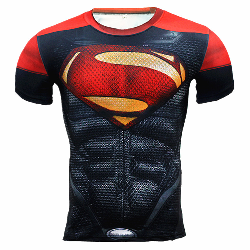 New Men Running Superman Sport T Shirt Sportswear Fitness Tights Spiderman Mens Training ...