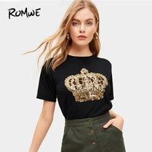 ROMWE para contraste lentejuelas y leopardo T 2019 negro rayando las mujeres  Camiseta de manga corta nuevo diseño de verano cuel. e304bb72b39