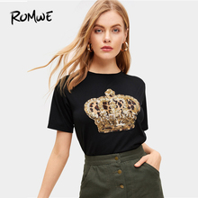 ROMWE Contrast Sequin And Leopard Tee 2019 Black Comfrotable Women Short Sleeve T-shirt New Design Summer Round Neck Tops