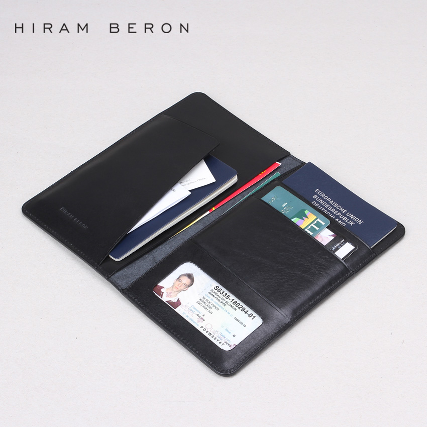 Hiram Beron Passport Wallet Business Genuine Leather Large Capacity Men Wallet Leather Card Holder Men Purse Custom Wallet kingsky luxury brand women wrist watches fashion casual quartz watch for lady steel strap relogio feminino 2016 montre femme