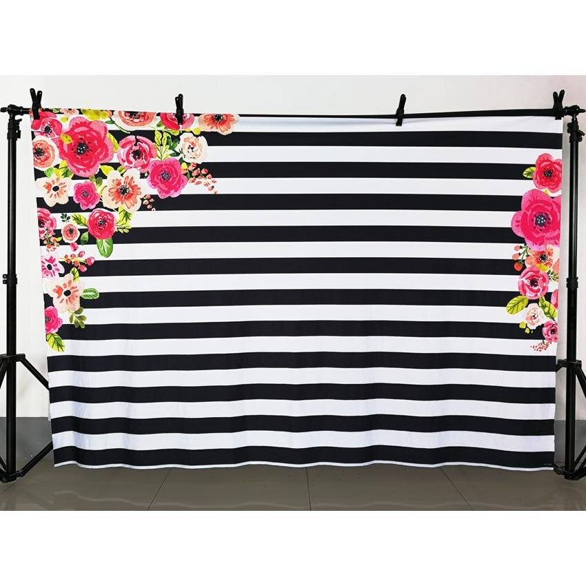 Arrière-plan Photo toile de fond de fête d'anniversaire blanc et noir bande bannière sans plis et lavable arrière-plans de photographie