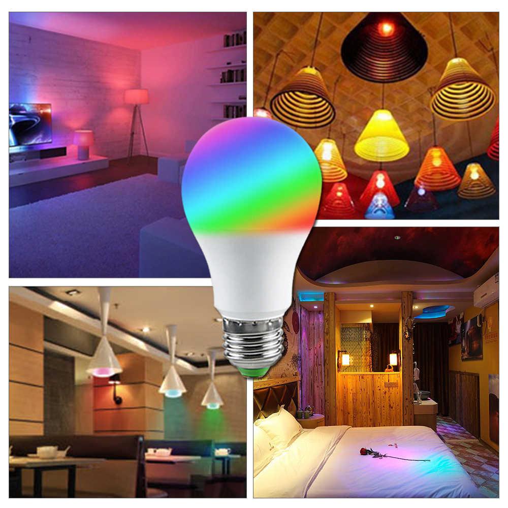 Foxanon żarówki LED RGBW E27 AC 220 V 110 V lampora lampa Led światła ściemniania 5 W 10 W 15 W 24 pilot z klawiszami kolorowe lampki nocne