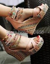 2015 women summer shoes multicolour beads bohemia national trend ultra high heels wedges sandals women's platform shoes big 43