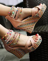 2015 women summer shoes multicolour beads bohemia national trend ultra high heels wedges sandals women's platform shoes big 43