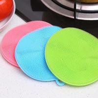 Fruit Vegetable Food Grade Silicone Dishwashing Sponge Brush Antibacterial Kitchen Cleaning Pad Clean Vegetable/Pan Brush Tool 5