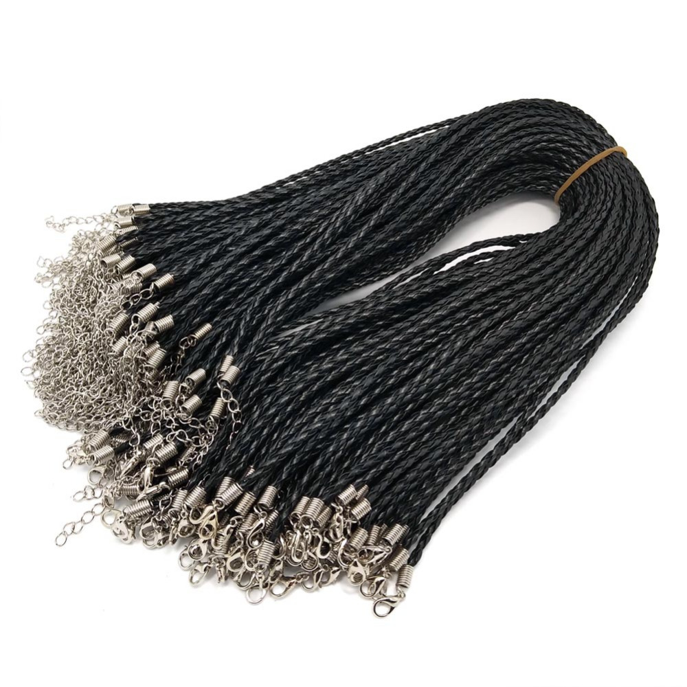3096aaec8 YIQIFLY 100pcs 3mm Black Braid PU Leather Cord Necklace Beading Cord ...