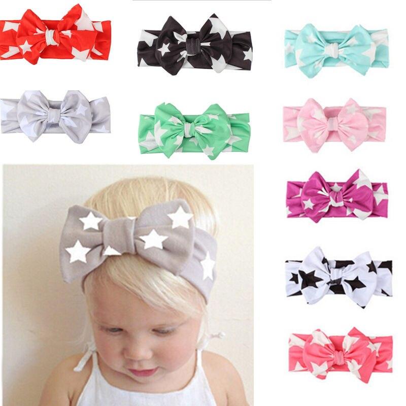 Cute Infant Baby Girls Headwear 2017 Fashion Kids Girl Baby Headband Toddler Girl Bowknot Star Print Girls Cotton Cloth Headband