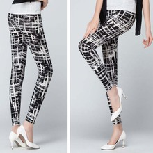 Spring Autumn Wear Brushed Printed leggings Floral Elepant Plaid Ankle Length Stretchy female Casual Trousers