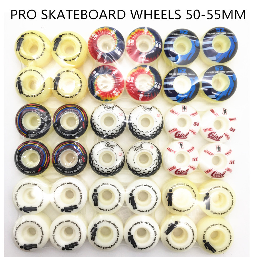 4pcs / Set Pro Skate hjul med multi Graphics Skateboard Wheels 51/52/53 / 54mm PU hjul for Skateboard Deck Board