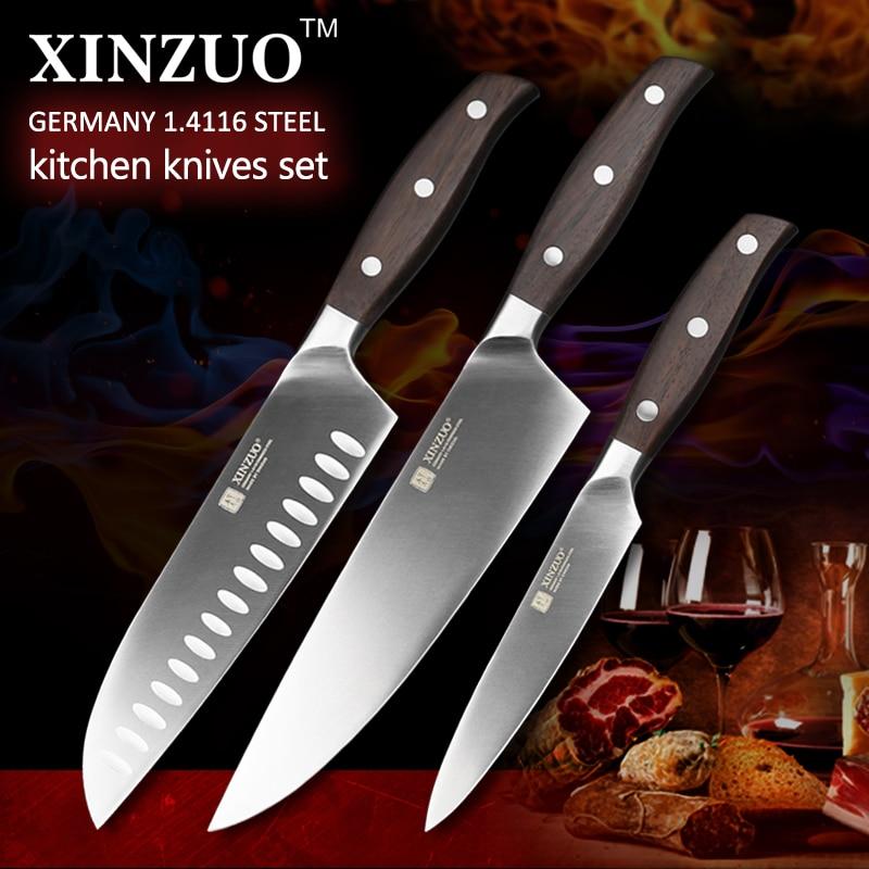 XINZUO ZHI series 3 pcs kitchen font b knife b font set super sharp cleaver utility