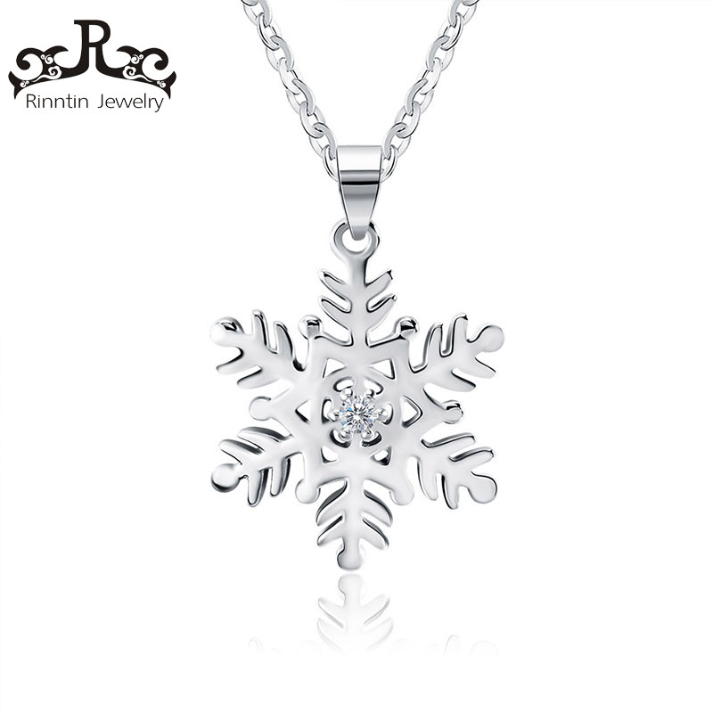 Real 925 Sterling Silver Jewelry Snowflake Pendant Necklaces for Men/Women Winter Style Fine Jewelry Lover's Gift TSN07