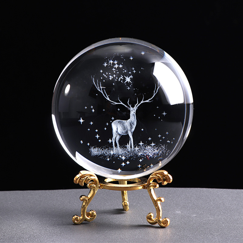 80mm Miniature Wapiti  Glass Ball 3D Laser Engraved Crystal Decoration Crystal Sphere Home Decor Ornament Birthday Gift Globe