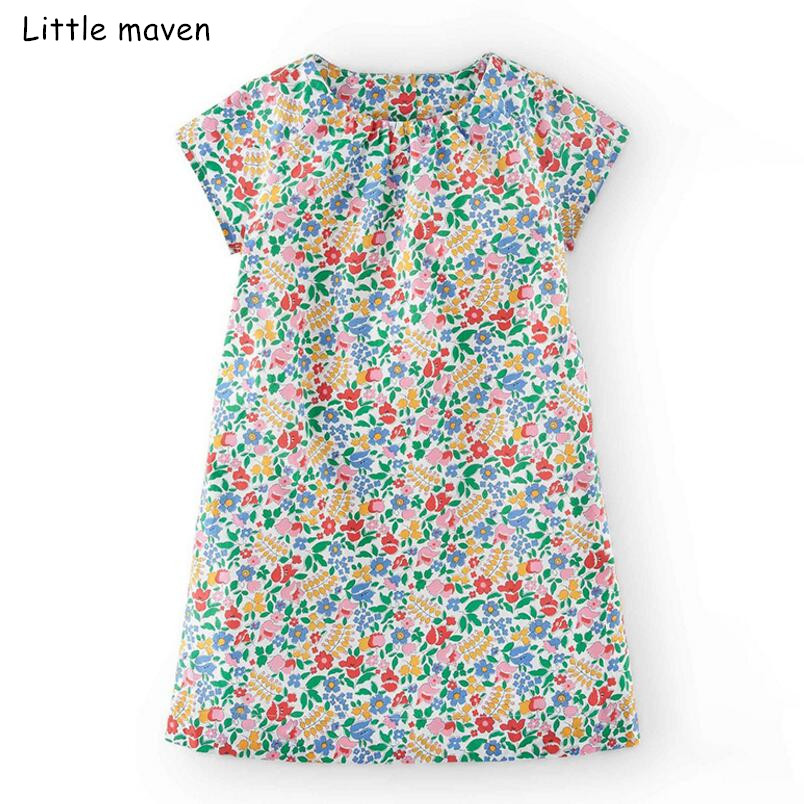 9dbb35e869979 US $8.24 41% OFF|Little maven 2019 new summer baby girls brand dress kids  cotton flower print short sleeve dresses S0430-in Dresses from Mother &  Kids ...
