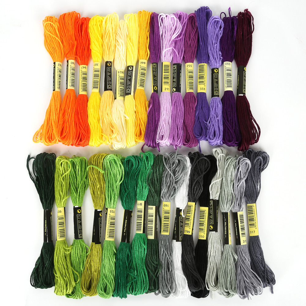 8 Pcs Mix Colors Cross Stitch Cotton Sewing Skeins Craft DMC Embroidery Thread Floss Kit DIY Sewing Tools