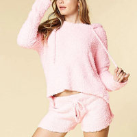 2017 New Women Korean Style Fluffy Mohair Knitted Jumper Solid Color Long Sleeve Pink Hoodies Sweatshirt