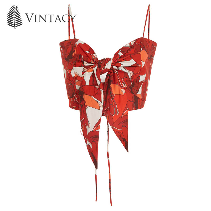 Vintacy Sexy Camisole Crop   Top   Women Strap Bow Knot Lace Up   Tank     Top   Red Floral Female Backless Sleeveless Beach Cropped Cami