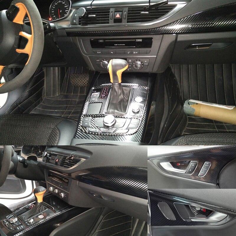 Pour Audi A7 2011-2018 panneau de commande Central intérieur poignée de porte 3D/5D en Fiber de carbone autocollants accessoires de style de voiture - 4