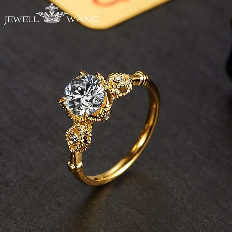 Jewellwang Moissanites Engagement Rings For Women 18K Yellow Gold Original Poker Design 0.5ct Certified Color Jk/vvs1 Classic