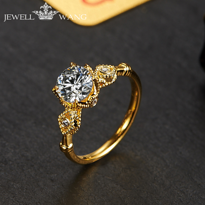 Jewellwang, aretes y anillos de compromiso para las Mujeres 18 K oro amarillo Original Poker diseño 0.5ct certificado Color Jk/vvs1 clásico