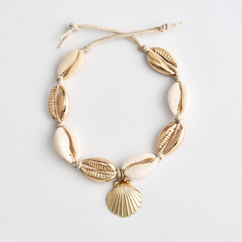 Vintage Antique Gold Color Anklet Women shell sequins Beads 2