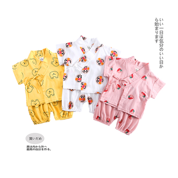 Baby boys girls sets short sleeve cotton japanese style tops+pants 2pcs kids children clothing unisex casual outfits 0-2 MB507 1