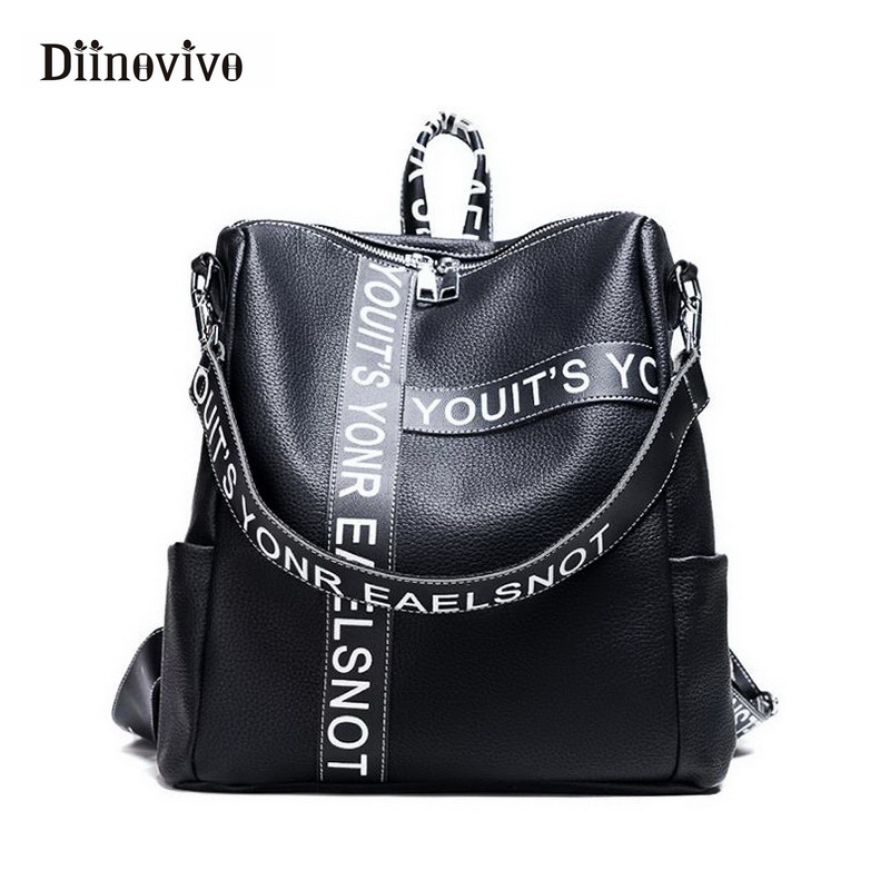 Diinovivo Punk Letter Women Backpacks Luxury Leather Ladies' Backpack Multifunction School Bags Girl Designer Satchel Whdv0351