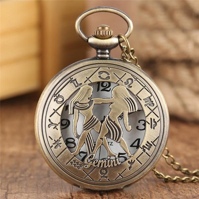 Constellation Theme Pocket Watch Bronze Gemini Carving Slim Chain Men Women Deco Clock Special Gifts For Children Teen Birthday