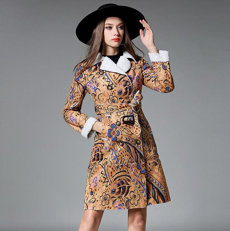 2018 New autumn winter women Faux Suede Trench Coat fashion print Slim Suede Coats Turn Down Collar Sashes Outwear s1149