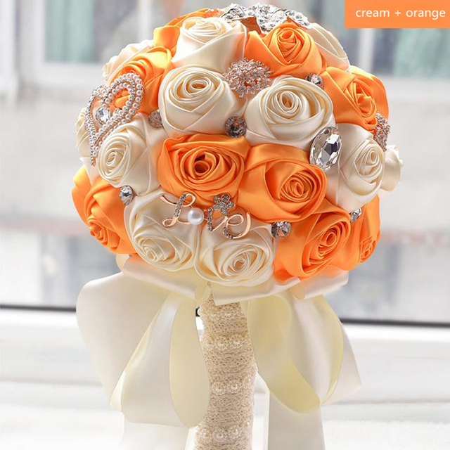 Hot Orange And Cream Strystal Wedding Bouquets Bridal Wedding