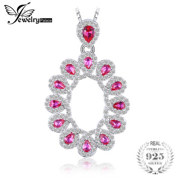 2.9ct Created Rubies Cluster Pendant