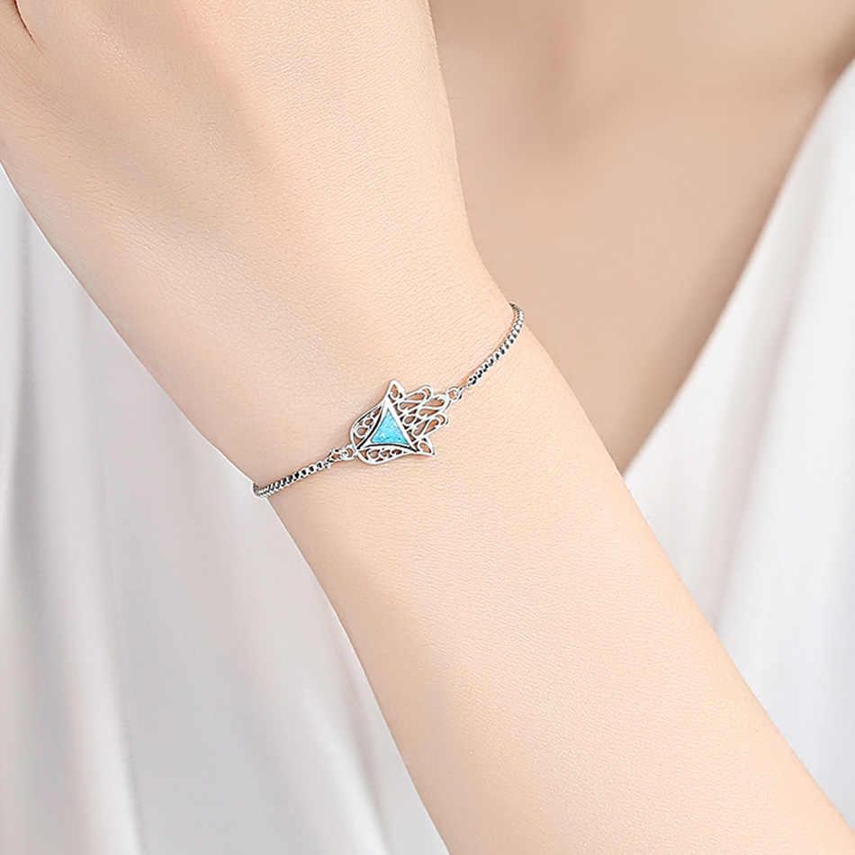 FOREWE טורקיה CZ קריסטל יד של פטימה קסם צמידי עבור נשים בנות כחול אש אופל צמיד & צמיד תכשיטי מפלגה מתנה