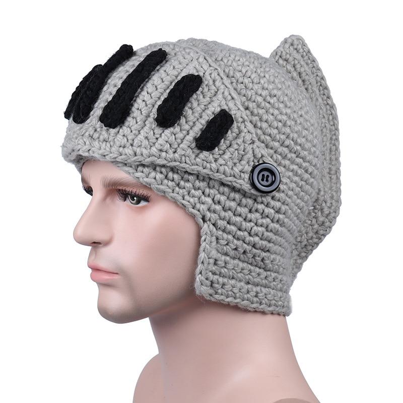 3bbff44b66440 Wuaumx Novelty Roman Hat Winter Beanie Hats For Men Warm Mask Knight Helmet  Knitted Cap Handmade Gladiator Mask Hat czapka zimow