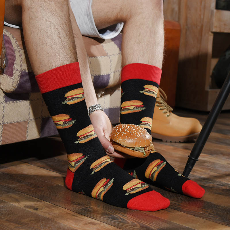 Men Socks Happy Delicious Food Print Colorful Socks Hamburger Pizza Funny Socks Harajuku Skateboard Cotton Dress Wedding Sokken in Men 39 s Socks from Underwear amp Sleepwears