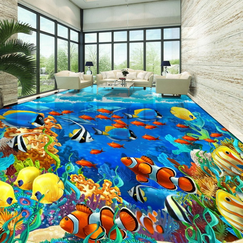 Free Shipping under sea world Tropical fish flooring painting bathroom kitchen decoration self-adhesive floor mural chic rhinestone floral buckle faux pearl stretch waist belt for women