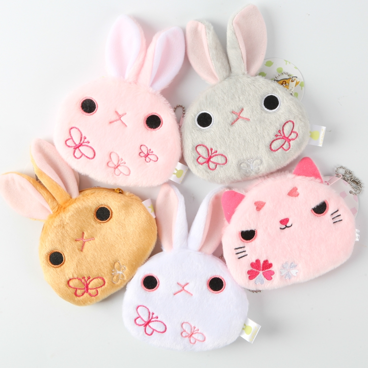 Japan Anime Butterfly Cherry Cat Rabbit Cartoon plush petty wallet Purse Bag Kids Girls Gift tom petty tom petty heartbreakers pack up the plantation live 2 lp