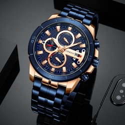 Curren homens de negócios relógio luxo marca aço inoxidável relógio de pulso cronógrafo exército militar quartzo relógios relogio masculino