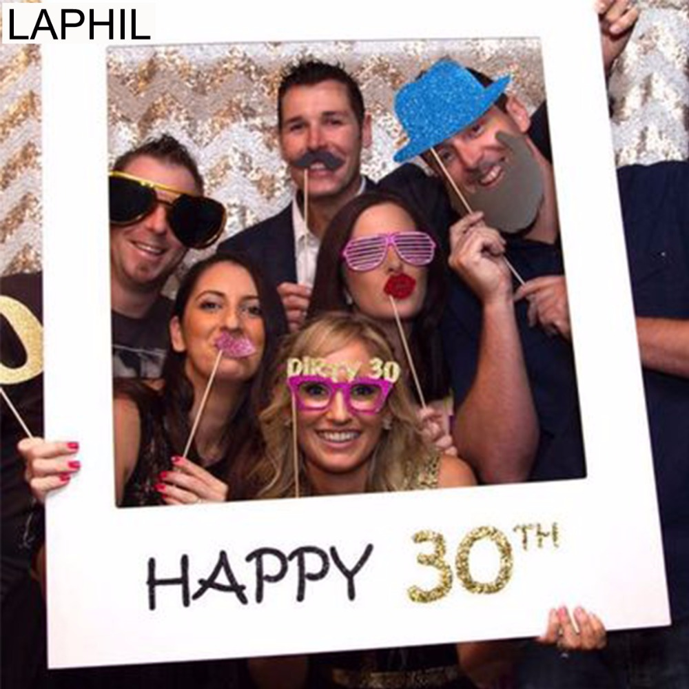 LAPHIL 30th Birthday Photo Booth Frame 40th 50th Props Happy Party Decorations Adult Photobooth