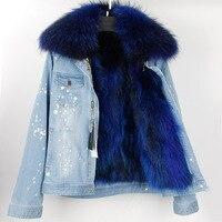 Парка с натуральным мехом 2017 Для женщин зимняя куртка из меха енота Куртка с воротником джинсовые реального енота Меховая подкладка Брендо