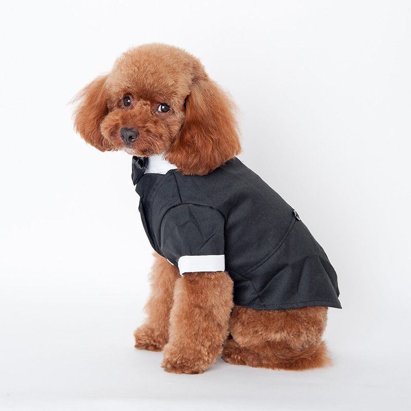 Factory Price Large Cute Pet Dog Cat Clothes Prince Wedding Suit Tuxedo Bow Tie Puppy Coat 5 Sizes Hot