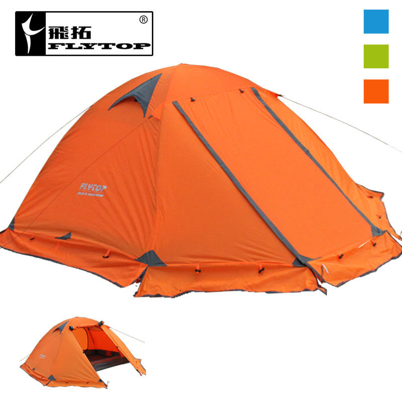Flytop double layer outdoor tent camping  tent double aluminum pole anti storm outdoor camping supplies xx040 high quality outdoor 2 person camping tent double layer aluminum rod ultralight tent with snow skirt oneroad windsnow 2 plus