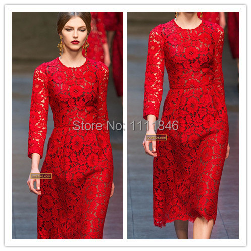 Aliexpress.com : Buy Newest o neck long sleeves red lace dress ...