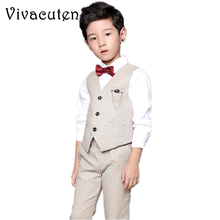 New Fashion Kids Wedding Suits Boys Vest Pants 2pcs Formal Party School Clothing Set Brand Children Suit Sets Kids Costumes F254