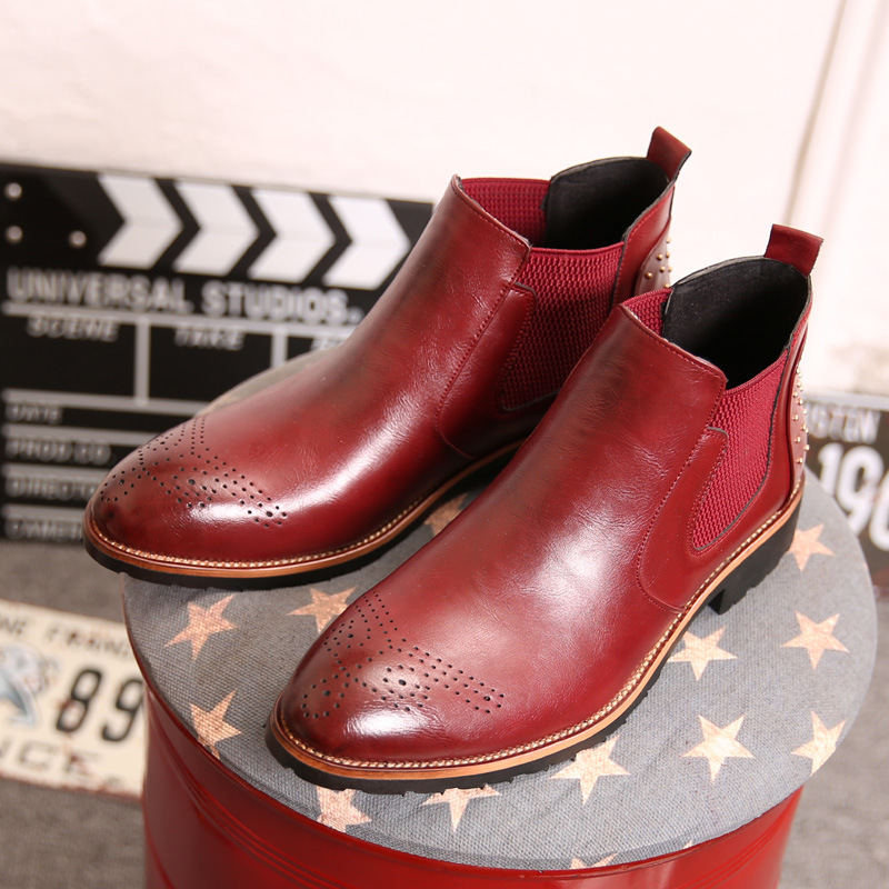marrom Motocicleta Tornozelo Sapatos vermelho Moda Red Do Preto Zip Homens Martin Costura rosy Pé Dedo Sólida Redondo Lazer Botas Baixo Concisa Chelsea AUFta