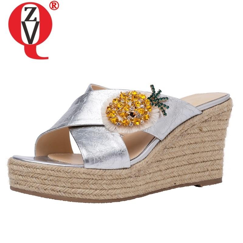ZVQ امرأة أحذية الصيف جديد الأزياء عالية الجودة جلد طبيعي امرأة النعال خارج سوبر عالية الكعب منصة السيدات أحذية-في شباشب من أحذية على  مجموعة 1