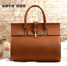 First layer of cowhide litchi platinum package fashion women's handbag fashion handbag bag star style women's genuine leather
